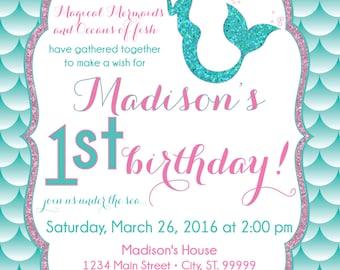 ON SALE Mermaid Birthday Invitation Mermaid Party Invite Under the sea mermaid glitter