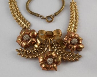 Retro 1940's Floral Two-tone Necklace