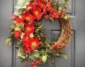 Red Spring Wreath, Red Decor, Red Door Wreaths, Spring Decor, Spring Trends, Red Decor, Red Decorations, Spring Decorating