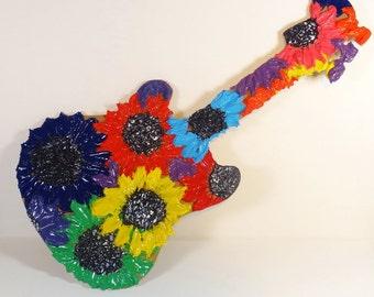 Big 3-D Flower Guitar Wall Hanging - Wall Art