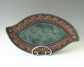 Leaf Serving Plate • Slab Formed & Hand Carved • Blue Green, Turquoise, Tan, Brown • Triangles • Unique Original