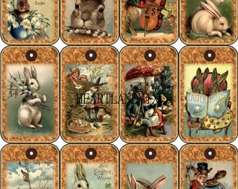 Set of 12 Tags Easter Digital Download Printable Art Graphic Image