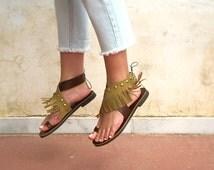 Studded Fringed Leather Sandals, Brown Ankle Wrap Sandals. DAFNE 01