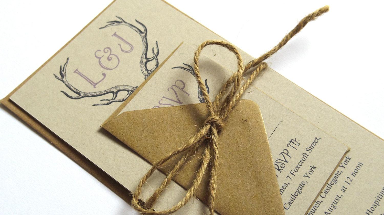 Wedding Invites Rustic: Rustic Antler Winter Woodland Wedding Invitation SAMPLE