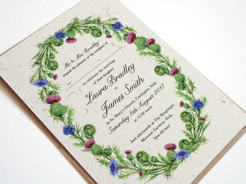 Wedding Invites Scotland: Watercolour Scottish Thistle Wedding Invitation Rustic