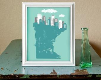 Love Minneapolis Minnesota // Digital Art Print // Illustration 8x10