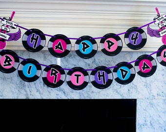 Rock Star Happy Birthday Banner, Punk Rocker Birthday Party Banner, Rock Star Party Decor P004