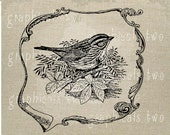 Wren bird Flourish black white Instant graphic digital download image for iron on fabric transfer burlap decoupage paper pillow tote Nogt180