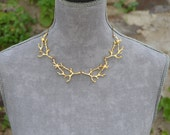 Twig branch necklace gold, twig jewelry, branch jewelry woodland jewelry