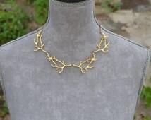 Twig branch necklace gold, twig jewelry, branch jewelry woodland jewelry