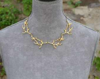 Gold branch necklace gold twig necklace rustic twig jewelry, branch jewelry woodland jewelry