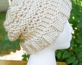 Chunky Beanie with Circle/Chain Pattern