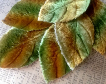 Vintage Velvet Millinery Leaves - Green Brown Shaded - Large Fabric Leaf, Wire Stems - Hat Making Supplies
