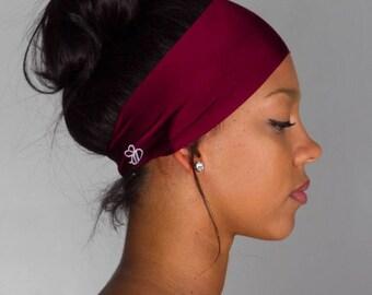 Running Yoga headband - Workout Headband - No Slip Headband by Manda Bees - activewear gift for runners -  grunge MAROON