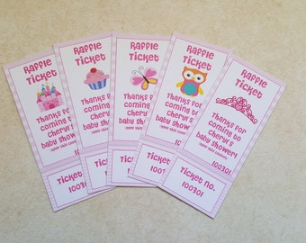 Perforated Girl Baby Shower Raffle Tickets