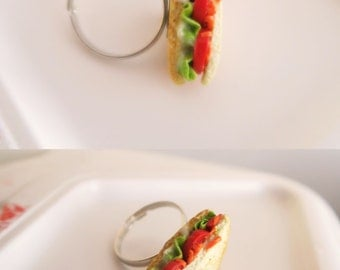 Veggie Sandwich toast ring - food jewelry, miniature food , toast ring, kawaii ring, vegan ring