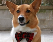 Red tartan plaid Christmas dog bow tie Butterfly bow tie for pet Red green yellow plaid check pre tied dog bow tie for large medium dog ( L)