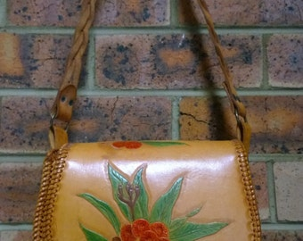 Vintage Leather Handbag: embossed with Australian Gum Blossom native flowers