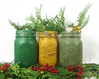 Christmas Decor, Rustic Home Decor, Holiday Decor, Mason Jar Vase, Christmas Decorations, Country Home Decor, Painted Mason Jars