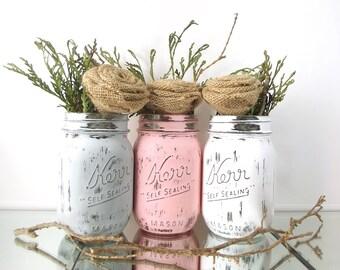 Decorative Mason Jars, Rustic Country Home Decor, Distressed Decor, Rustic Centerpiece, Cabin Decor, Farmhouse Chic, Painted Mason Jars