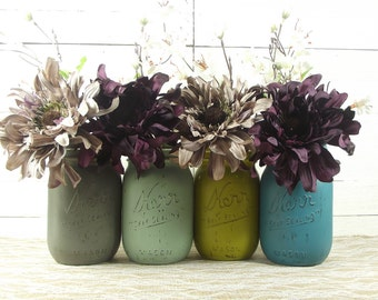 Rustic Wedding Decor, Mason Jar Wedding, Wedding Centerpiece, Wedding Decor, Painted Mason Jars, Romantic Wedding, Gray Wedding