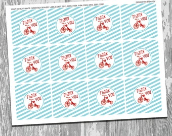 Classic Red Tricycle Printable Thank You Favor Tags Stickers Labels INSTANT DOWNLOAD You Are My Sunshine Collection
