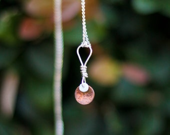 Boho Beach Jewelry, Hammered copper Tide necklace with puka shell