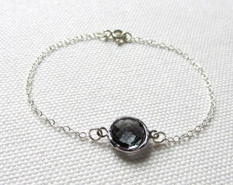 Charcoal Bracelet Dark Gray Thin Silver Chain Glass Crystal Stone Dainty Jewelry Minimalist Bridesmaid