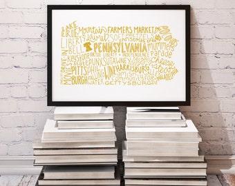 CUSTOM COLOR State of Pennsylvania Typography Print; Christmas Gift; Wall Art and Decor; Wedding Anniversary Graduation Gift