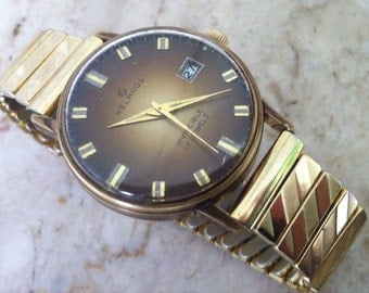 Extremely Rare Brown Dial Helbros Invincible, Mid Century, 17 Jewels, Gold Plate Case, Copper Brown Dial, Date Window, Vintage Men's Watch