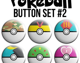 Pokeball Pinback Button Set #2