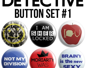 Detective Pinback Button Set #1