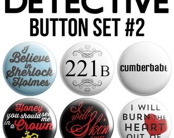 Detective Pinback Button Set #2