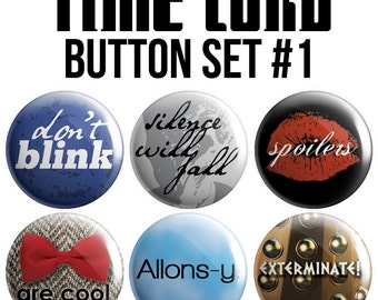Time Lord Pinback Button Set #1