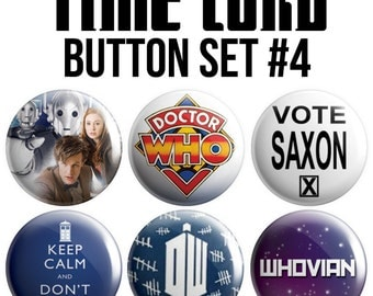 Time Lord Pinback Button Set #4