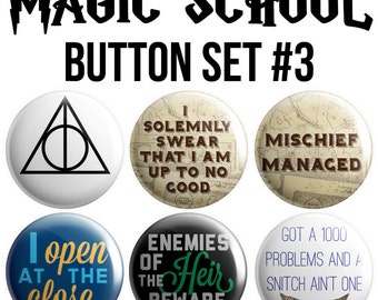 Magic School Pinback Button Set #3