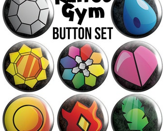 Kanto Gym Pinback Button Set