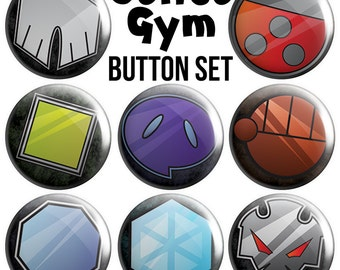 Johto Gyms Pinback Button Set