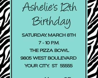 Teen Zebra Birthday Party Invitation