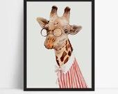 Framed Giraffe print, Giraffe Poster, Art For Kids Room, Prints for Girls room, Framed Poster, Kids Room prints, Illustration
