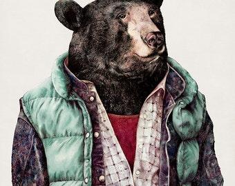 BLACK BEAR Art Print, Bear Illustration, Cool Wall Art, Kids Room Poster, Boys room Decor, Bear art, Bear poster, Wall Art