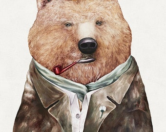 Brown Bear Art Print, Bear Poster, Boys Room Decor, Kids Room Print