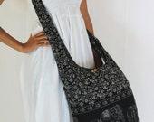 USA SHIPPING** Black Cotton, Printed Standing Elephants, Yaam Bag, Crossbody, Shoulder bag, Hippie, Boho, Hobo, Messenger, Beach Bag E-EA12