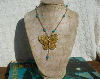 Steampunk Necklace - Vintage Butterfly & Steampunk Facets