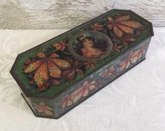 Rare c 1908 Wright & Sons English Biscuit Tin, Bramble, Antique Tin Box, Art Nouveau, Pretty Lady Woman, Glove Box w Leaves