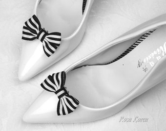 Black and White Stripe Shoe Clips, Striped Bow Shoe Bows, Black and White Striped Bow Clip Shoes, Black & White Wedding Accessories