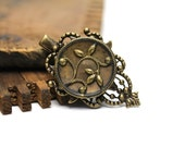 "Antique Hair Clip, Decorative Hair Accessory, Floral Victorian Charm, Brass Filigree Flower - ""Garden of Gold"""