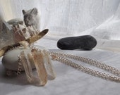 Bohemian, Boho, Rustic, Hippie, Southwestern Adjustable Chain Necklace with Rose Quartz Spikes and Peruvian Opal Rondelles for Weddings