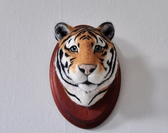 Felted Tiger - Faux Taxidermy - Wall Mount