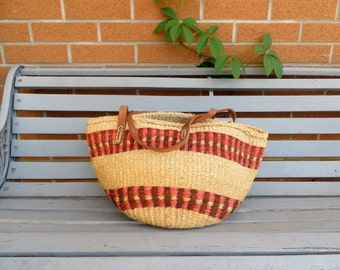 70s Jute and Leather Market Bag